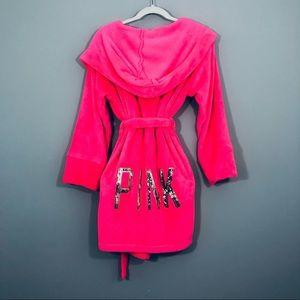 PINK Victoria Secret Hot Pink Sequined Fuzzy Robe